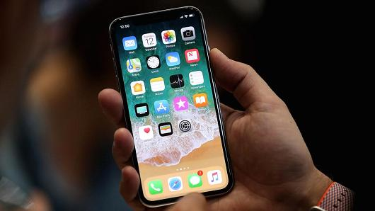 The iPhone X is displayed during an Apple special event at the Steve Jobs Theatre on Sept. 12, 2017 in Cupertino, Calif.