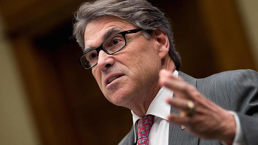Secretary of Energy Rick Perry testifies during a House Energy and Commerce Committee hearing on Capitol Hill, October 12, 2017 in Washington, DC.