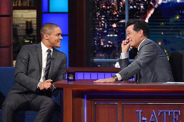 'The Daily Show' host Trevor Noah appears on 'The Late Show' with Stephen Colbert on September 17, 2015