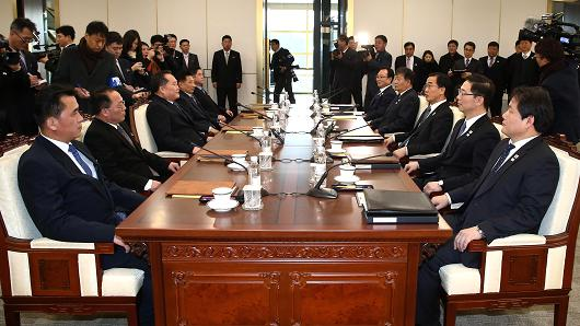 Officials from South Korea and North Korea meet to discuss the North's participation in the 2018 Winter Olympics.