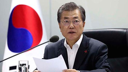 South Korean President Moon Jae-in a meeting at the National Security Council on November 29, 2017.