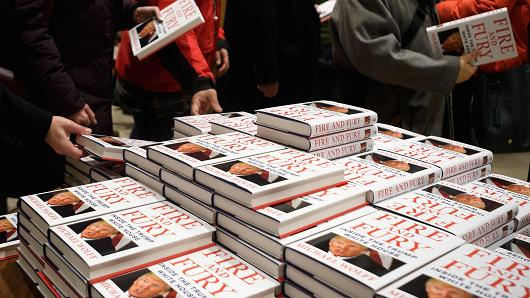 Customers purchase copies of one of the first UK consignments of Michael Wolff's book on President Trump's Presidency 'Fire and Fury', at Waterstones, Piccadilly on January 9, 2018 in London, England. The book is already a bestseller with over a million orders in the US alone.