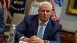 Labcorp CEO Adam Schechter talks as commercial lab executives and government Health officials meet with Vice President Mike Pence on the Coronavirus crisis at the White House on March 4, 2020 in Washington,DC.